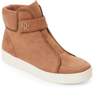 Donna Karan Light Brown Suede Tria High Top Sneakers