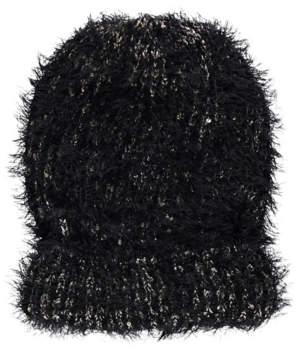 George Black Eyelash Texture Sequin Beanie Hat