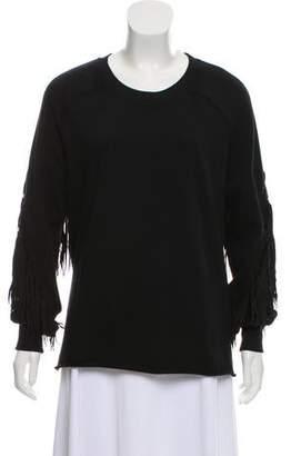 BLK DNM Fringe-Trimmed Crew Neck Sweatshirt
