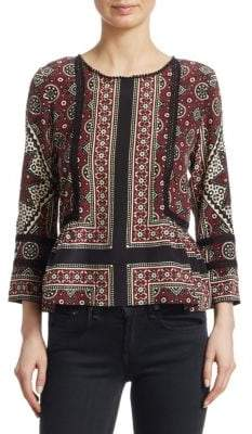 Sea Three-Quarter Sleeve Brick Printed Top