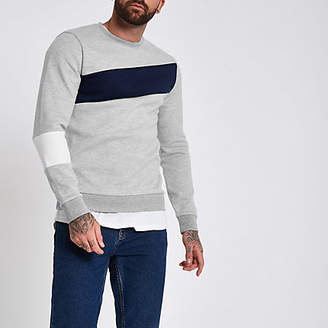 River Island Grey slim fit blocked crew sweatshirt