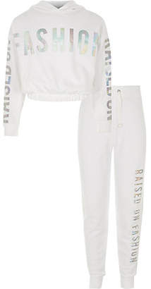 River Island Girls white 'raised on fashion' hoodie outfit