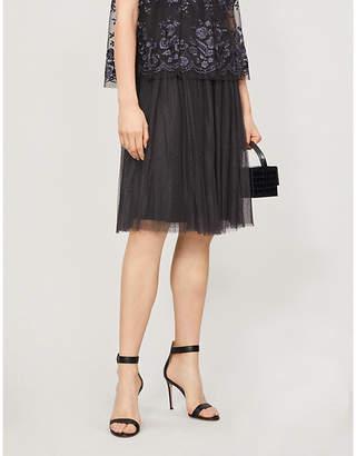 NEEDLE AND THREAD Polka dot mesh high-waisted tulle midi skirt