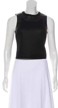 Alexander Wang Mesh Leather-Trimmed Top