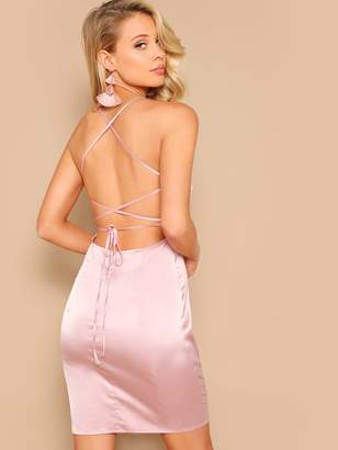 Shein Lace Up Backless Satin Bodycon Dress