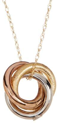Candela 10K Tri-Color Triple Rolling Ring Pendant Necklace
