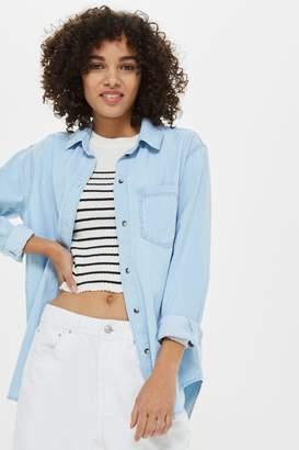 Topshop Bleach Oversized Denim Shirt