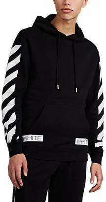 "Off-White MEN'S ""BLUE COLLAR"" LOGO-PRINT COTTON TERRY HOODIE - BLACK SIZE XS"