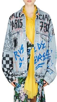 Balenciaga Women's Graffiti-Print Denim Oversized Jacket
