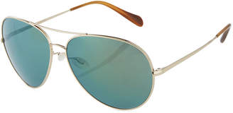 Oliver Peoples Sayer Mirrored Aviator Sunglasses, Green