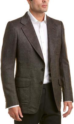Tom Ford Suede-Trim Silk & Wool-Blend Blazer