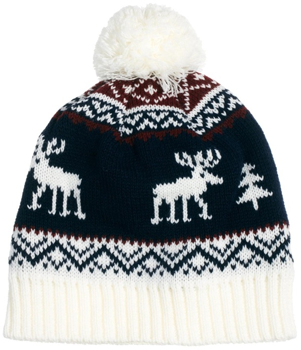 French Connection Reindeer Bobble Beanie