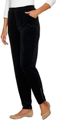 Factory Quacker Short Velour Slim Leg Pants with Rhinestone Zipper