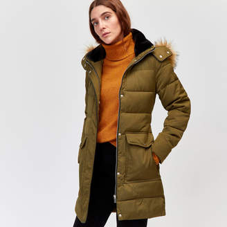 Warehouse Long Belted Padded Coat