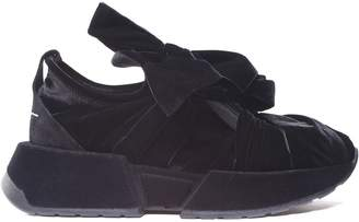 MM6 MAISON MARGIELA Bow-embellished Velvet And Suede Sneakers