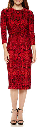 LIZ CLAIBORNE Liz Claiborne 3/4 Sleeve Persian Carpet Print Sheath Dress $49.99 thestylecure.com