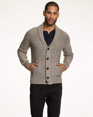 Le Château Tonal Pattern Cotton Shawl Collar Cardigan