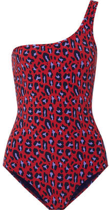 Stella McCartney Animal One-shoulder Leopard-print Swimsuit - Claret