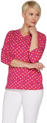 Denim & Co. Perfect Jersey 3/4 Sleeve Polka Dot V-neck Top