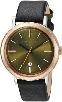 Ted Baker Men's 'CONNOR' Quartz Stainless Steel and Leather Dress Watch, Color:Black (Model: 10031508)