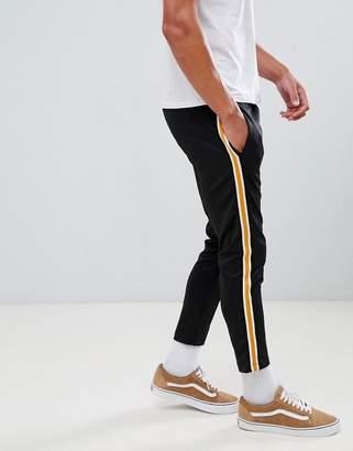 Bershka Joggers In Black With Side Stripe