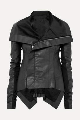 Rick Owens Asymmetric Wool-paneled Coated Linen And Cotton-blend Biker Jacket - Black