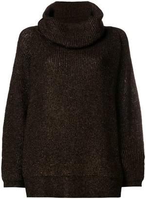 Mes Demoiselles lamé turtleneck oversized sweater