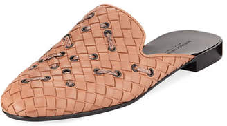 Bottega Veneta Woven Leather Mule Flat with Snakeskin Stitching