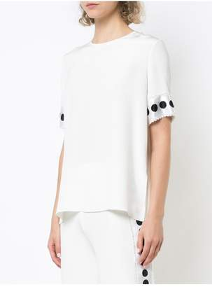 ADAM by Adam Lippes Silk Crepe T-Shirt With Ribbon Cuffs