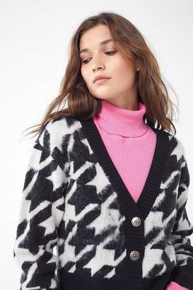 Urban Outfitters Gretchin Houndstooth Cropped Cardigan