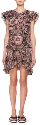 Isabel Marant Xanity Sleeveless Ruffled Cotton Mini dress with Grommet Trim