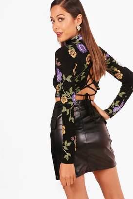 boohoo Oriental Long Sleeve Lace Up Back Crop