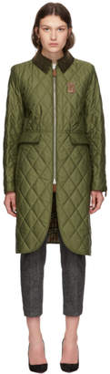 Burberry Green Quilted Ongar Equestrian Jacket
