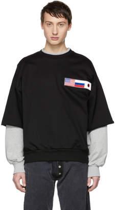 Gosha Rubchinskiy Black and Grey Double Sleeve Flag Sweatshirt