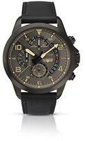 Accurist Men 's Watchグレーダイヤルクロノグラフブラックレザーストラップ7054