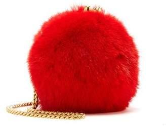 Oscar de la Renta Crimson Mink Billiard Bag