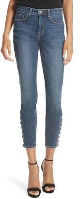 L'Agence Piper Button Hem Skinny Jeans