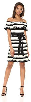 Halston Women's Off Shoulder Flounce Sleeve Striped Dress