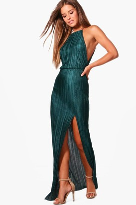 boohoo Petite Pleated Thigh Split Maxi Dress