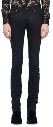Saint Laurent Raw Clean-Wash Skinny-Fit Denim Jeans $490 thestylecure.com