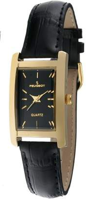 Peugeot Women's Classy 14K Gold Plated H Rectangle Case Leather Band Dress Watch 3007BK