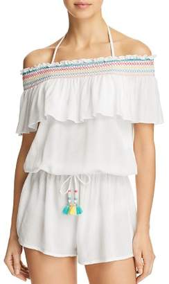 Isabella Collection ROSE Crystal Cove Smocked Romper Swim Cover-Up