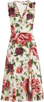 Dolce & Gabbana Peony and rose-print crepe de Chine midi dress