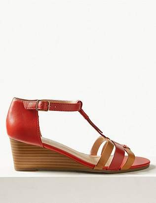 Marks and Spencer Leather Wide Fit Wedge Sandals