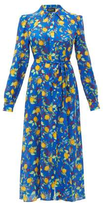 Saloni Vanessa Lemon Print Silk Midi Dress - Womens - Blue Multi