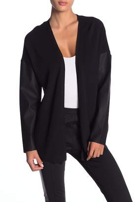 BCBGeneration Faux Leather Sleeve Cardigan