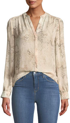 L'Agence Bardot Snakeskin-Print Silk Button-Front Blouse