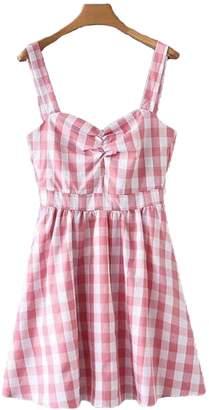Goodnight Macaroon 'Harley' Gingham Flared Mini Dress (2 Colors)