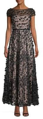 Karl Lagerfeld Paris Floral Illusion Short Sleeve Gown