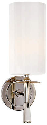 AERIN Drunmore Single Sconce - Nickel/Clear/White